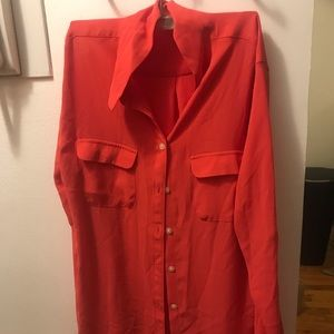 Coral chiffon blouse from Loft